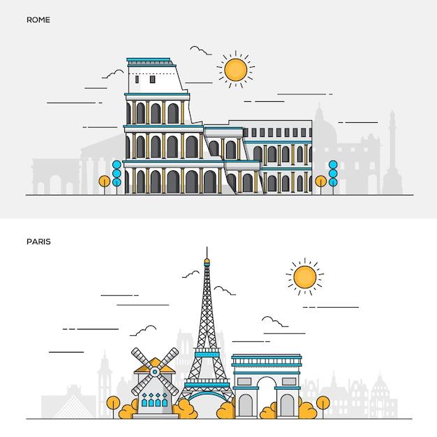 Набор цветных баннеров для города рима и парижа. концепции веб-баннеров и печатных материалов. иллюстрация Premium векторы