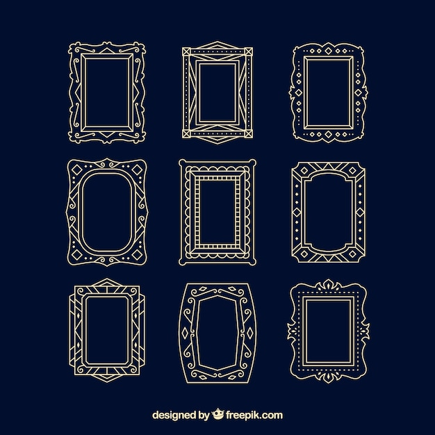 Set of lineal frames with ornaments Free Vector