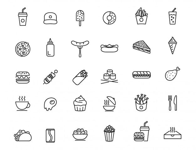 Набор иконок линейной фаст-фуд. еда и напитки иконки в простом дизайне Premium векторы