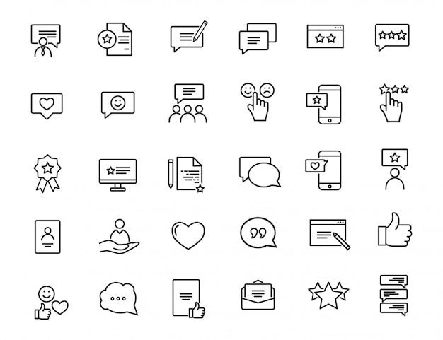 Набор иконок линейной обратной связи. значки удовлетворенности клиентов в простом дизайне. Premium векторы