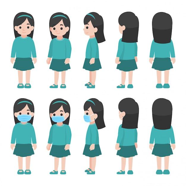 Комплект маленькой девочки в новой нормальной жизни нося хирургическую защитную медицинскую маску Premium векторы