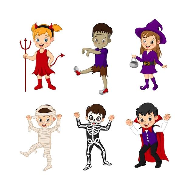 Набор маленьких детей в костюмах на хэллоуин Premium векторы