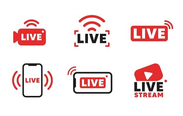 라이브 스트리밍 아이콘 및 비디오 방송 세트. 온라인 방송, 스트리밍 서비스를위한 스마트 폰 화면. 프리미엄 벡터