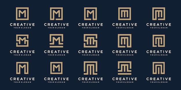 Набор букв логотипа м с квадратным стилем. шаблон Premium векторы