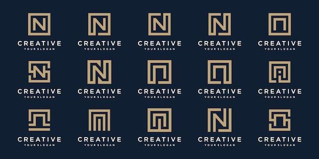 正方形のスタイルのロゴ文字nのセット。テンプレート Premiumベクター