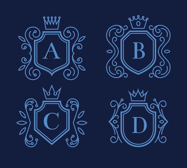방패와 크라운이있는 로고 또는 모노그램 디자인 세트. 빅토리아 프레임 무료 벡터