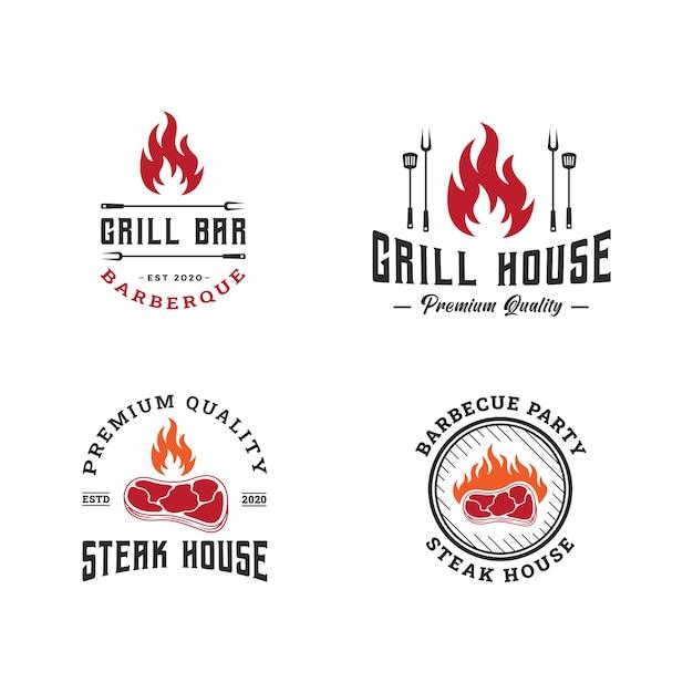 Набор шаблонов логотипа барбекю, барбекю и гриль, эмблема стейк-хауса Premium векторы