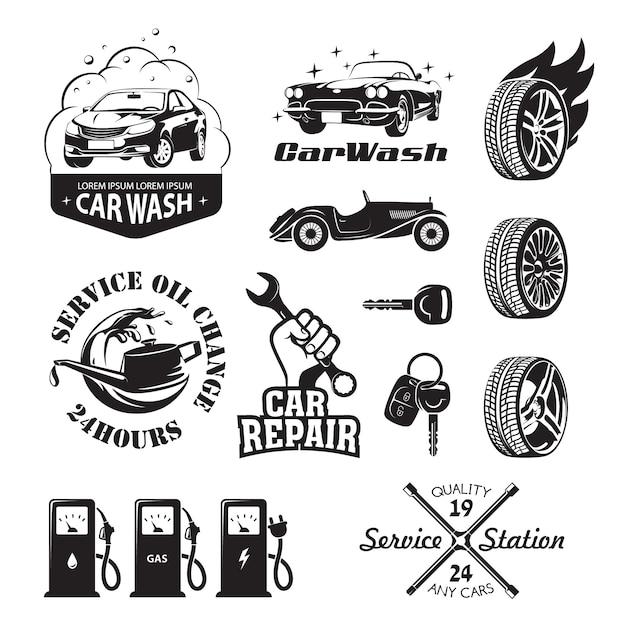 Набор логотипов и значков, относящихся к автосервису автомобиля: замена масла, мойка и полировка автомобиля, ремонт, смена шин, заправка бензином, газом и электричеством Premium векторы