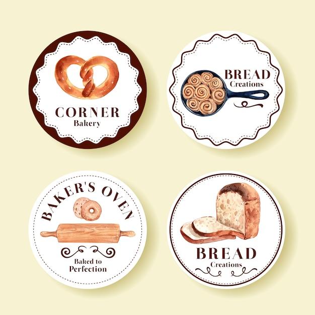 Набор логотипов хлебобулочных магазинов Бесплатные векторы