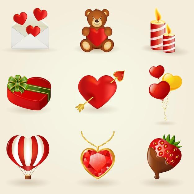사랑과 로맨틱 아이콘의 집합입니다. 디자인 요소의 컬렉션입니다. 프리미엄 벡터