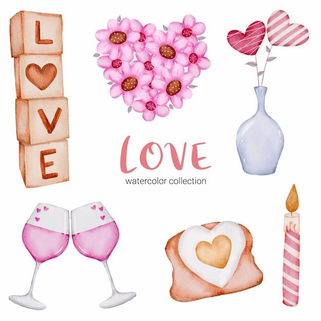 사랑 callection, 고립 된 수채화 발렌타인 개념 요소 집합 장식, 그림에 대 한 사랑스러운 로맨틱 레드-핑크 하트. 무료 벡터