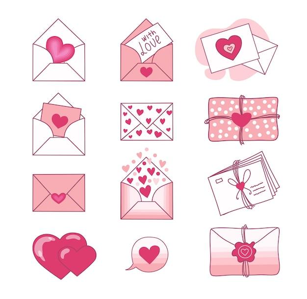 Набор любовных писем и валентинок на белом фоне. день святого валентина. . Premium векторы