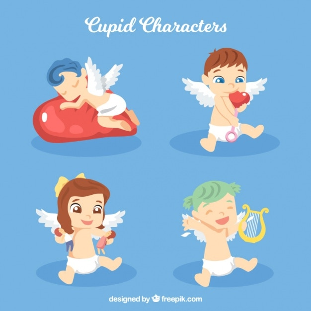 Set of lovely cupid babies Free Vector