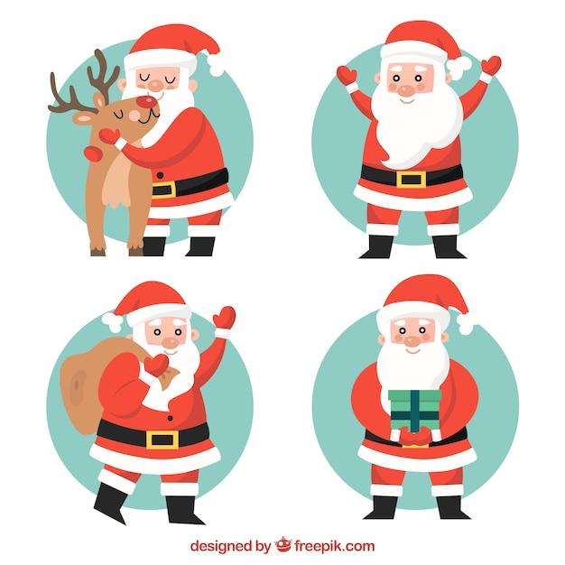 Set of lovely santa claus in flat design