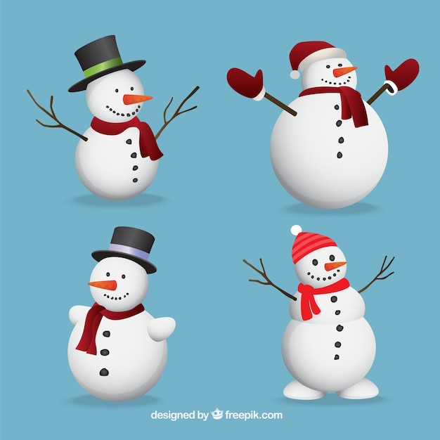 Set of lovely snowmen Free Vector