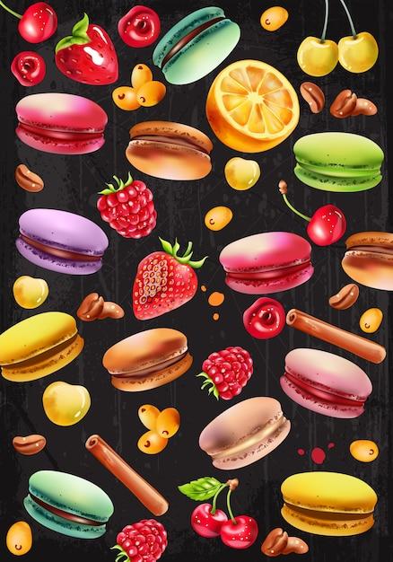 Набор макарон, малины, клубники, белой и красной вишни, кофе в зернах, палочки корицы и ягоды пираканты Бесплатные векторы