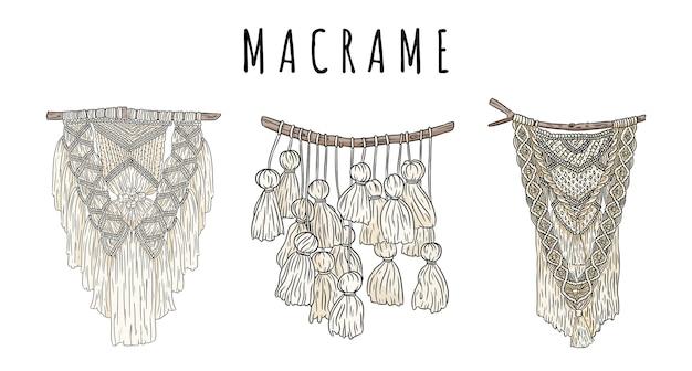 マクラメボヘミアンスタイルの壁掛けハンガーのセットが落書き。テキスタイルノット自由奔放に生きるデザイン要素。先住民族の線形の現代的な本物の結び目画像 Premiumベクター