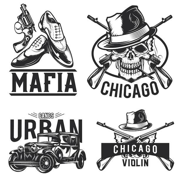Набор эмблем мафии, этикеток, значков, логотипов. изолированные на белом Бесплатные векторы
