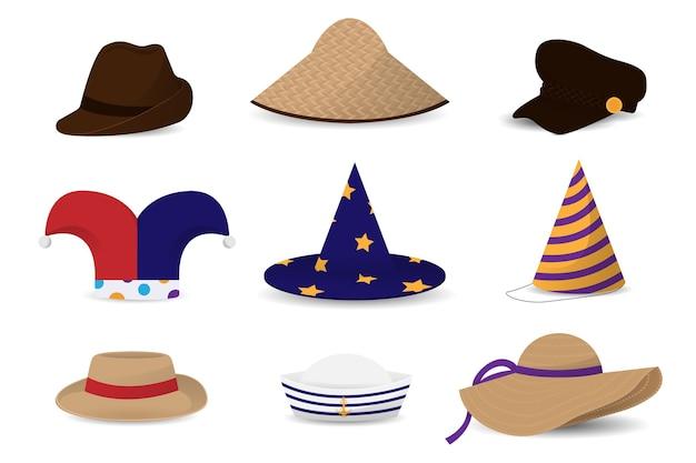男性と女性の帽子のセット Premiumベクター