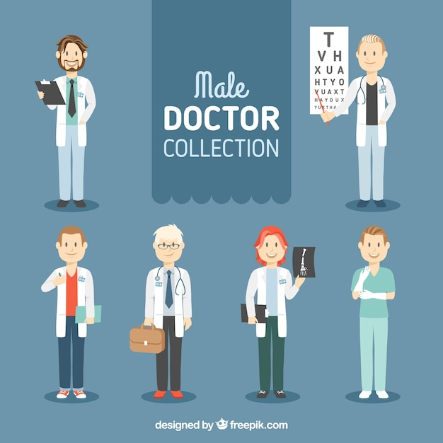 Set of male characters doctor