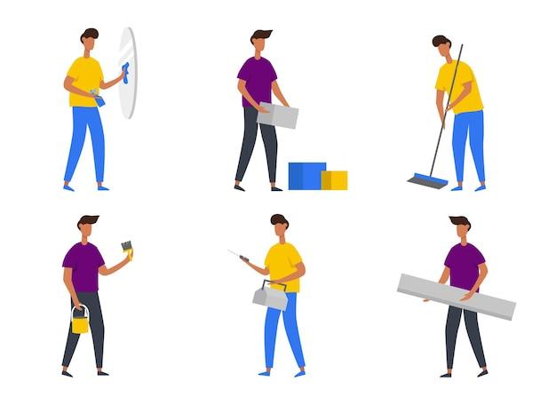 漫画のキャラクター、修理ホース、ガラス窓の掃除やその他のジェスチャー、孤立した平らなイラストで自宅で活動をしている男のセット 無料ベクター