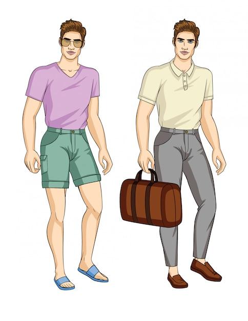 スタイリッシュな服装の男のセット Premiumベクター