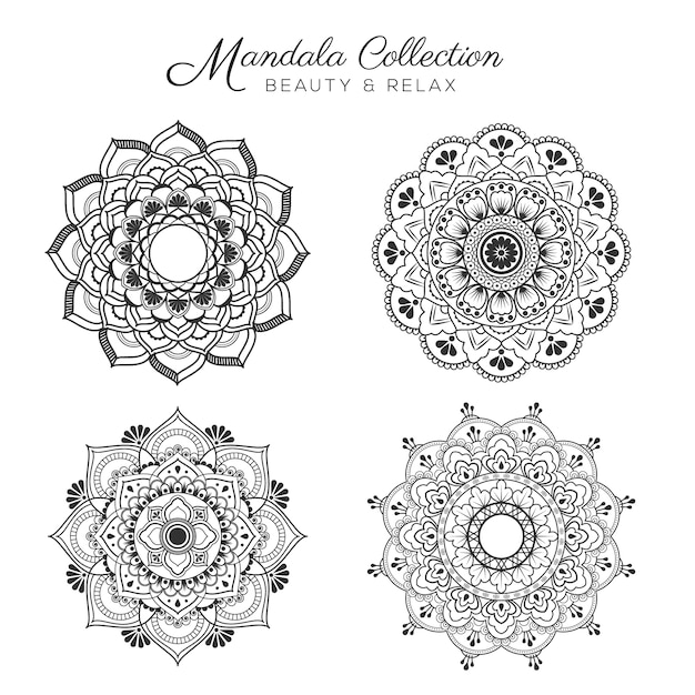 Set of mandala decorative and ornamental design for coloring page, greeting card, invitation, tattoo, yoga and spa symbol Free Vector