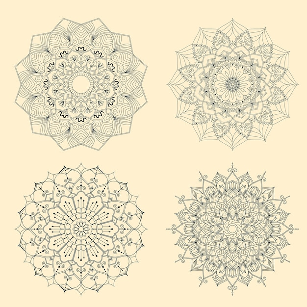 Set Of Mandalas For Coloring Book Premium Vector