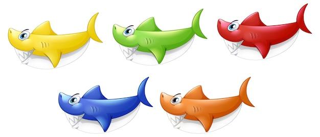 Набор многих улыбаясь милый мультипликационный персонаж акулы, изолированные на белом фоне Бесплатные векторы