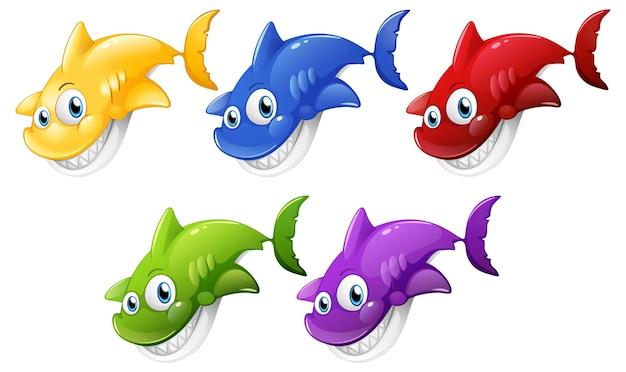 白い背景で隔離の多くの笑顔のかわいいサメの漫画のキャラクターのセット 無料ベクター