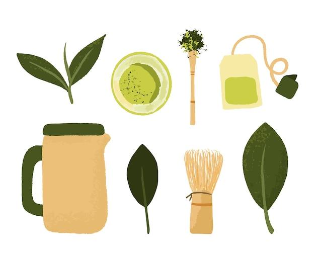Набор миски для порошка матча, деревянной ложкой и венчиком, лист зеленого чая, изолированные на белом фоне. принадлежности для приготовления зеленого чая Premium векторы
