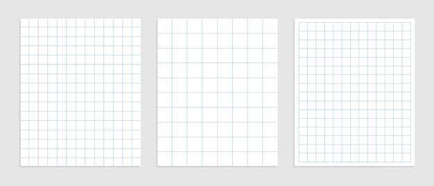 さまざまなサイズの数学の正方形の紙のセット 無料ベクター
