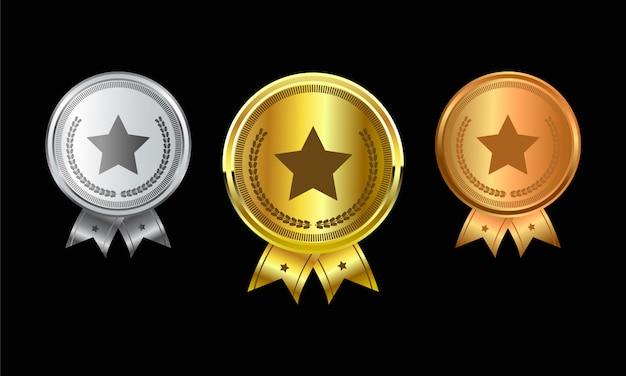 リボンとチャンピオンの金、銀、銅の賞を達成するためのメダルのセット Premiumベクター