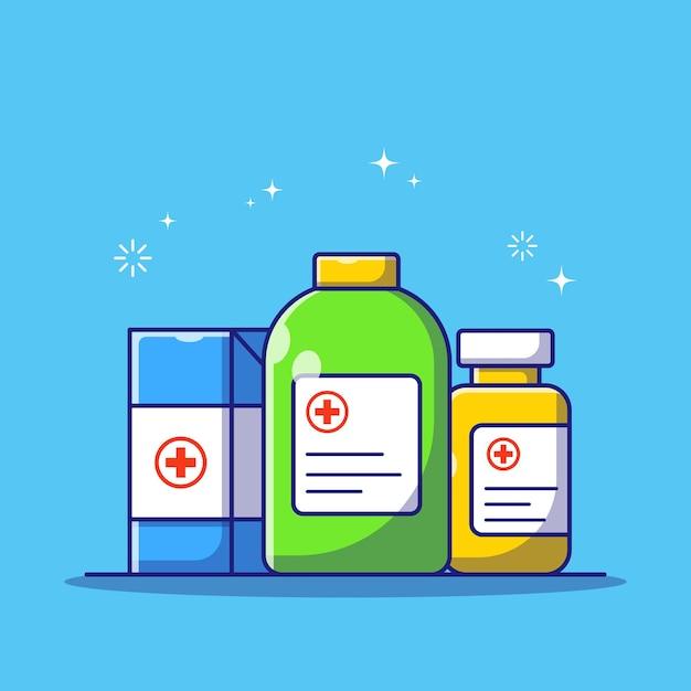 Набор лекарств коробка и бутылка на синем фоне для лечения медикаментов, консультирующих плоский мультфильм иллюстрации Premium векторы