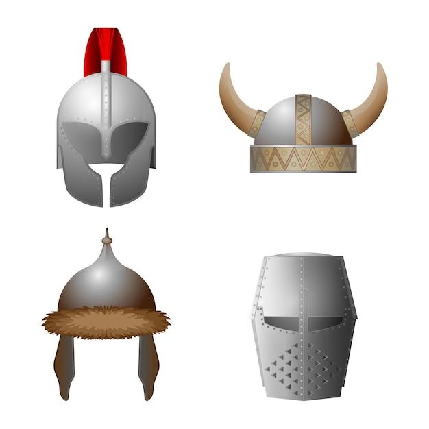中世のヘルメットのセット。バイキング、ナイト、ホーンド、コッパーゲートヘルメットコレクション。中世のミリタリーキャップ。鉄の要素を持つ帽子。ナイトトーナメント用の帽子、馬上槍試合。図 Premiumベクター