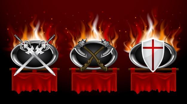 中世のロゴと赤い引き裂かれた折り畳みバナーのセット。現実的なゲームスタイル。 Premiumベクター