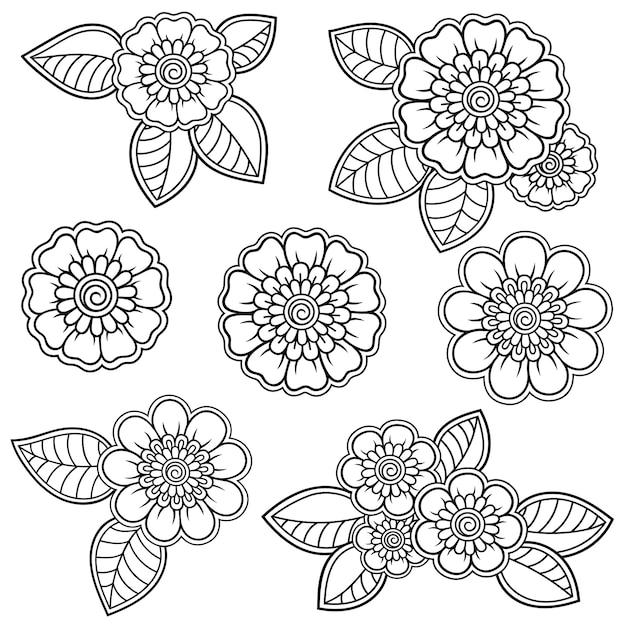 一時的な刺青の花のセット。エスニックオリエンタル、インドスタイルの装飾。 Premiumベクター