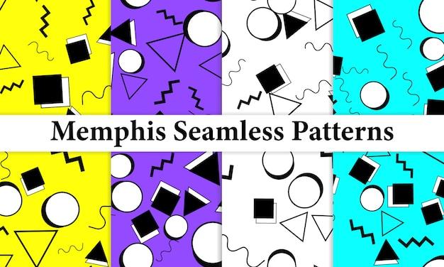 メンフィスのシームレスパターンのセットです。楽しい背景。トレンディな色。メンフィススタイルのパターン。図。シームレスパターン。抽象的なカラフルな楽しい背景。 80年代から90年代のヒップスタースタイル。 Premiumベクター