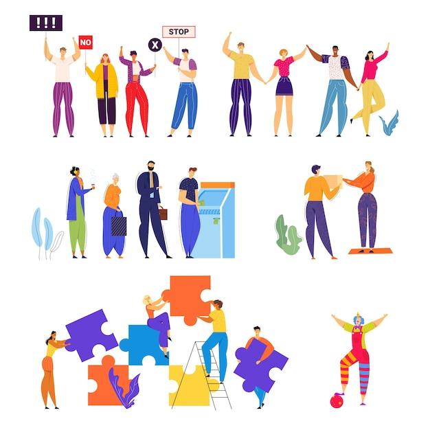 Набор мужчин и женщин принимают участие в демонстрации с баннерами в руках, используя банкомат в банке, раздают подарки. Premium векторы