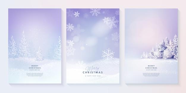 메리 크리스마스와 새 해 복 많이 받으세요 숲 겨울 풍경 세트 프리미엄 벡터