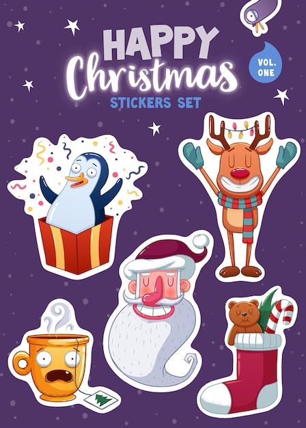 Набор наклеек или магнитов с новым годом и рождеством. праздничные сувениры. векторная иллюстрация Premium векторы
