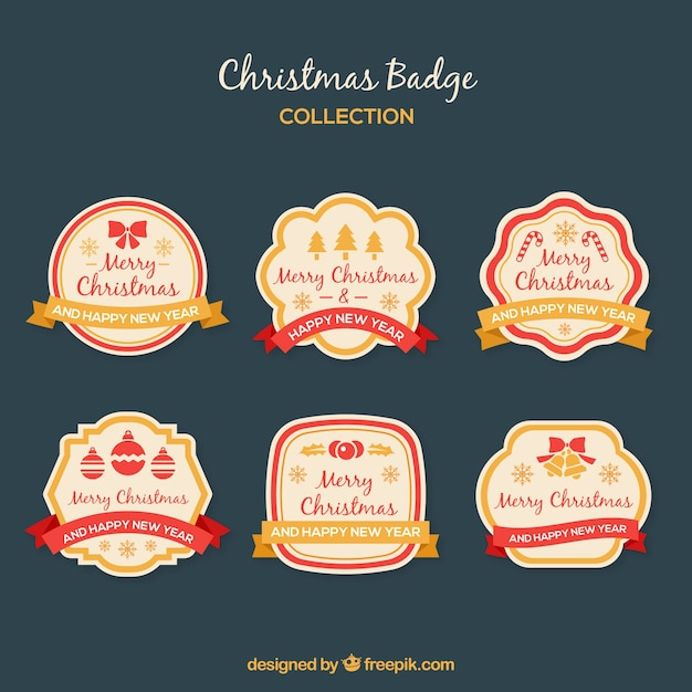 Set of merry christmas retro badges