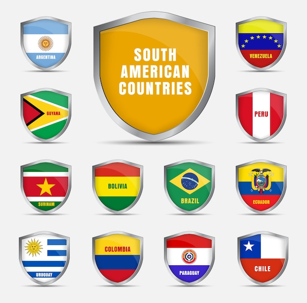 Набор металлических щитов с флагами и названием стран южной америки. Premium векторы