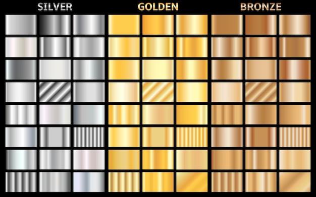 금속 그라디언트의 집합입니다. 골드, 실버 및 브론즈 배경 모음. 프리미엄 벡터