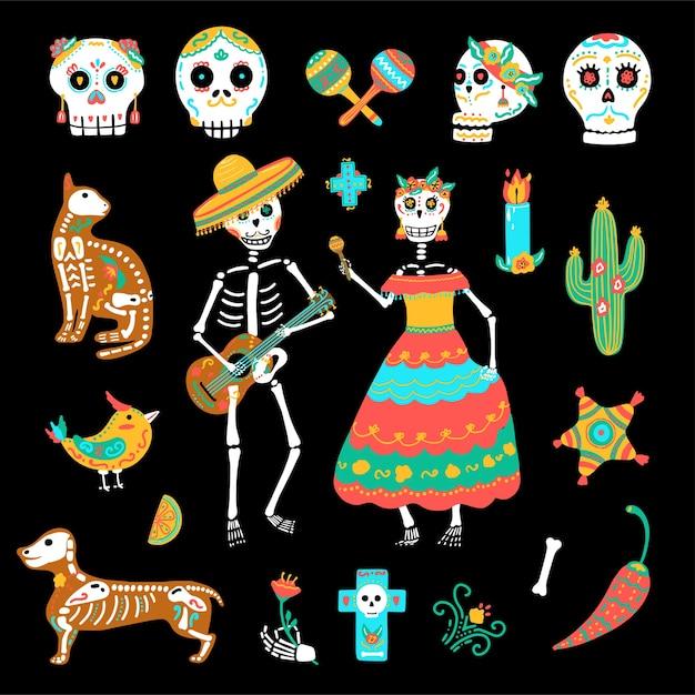 メキシコの休日の死者の日、ディアデロスムエルトスのセット。手描きのカラフルなかわいい頭蓋骨、スケルトン、パーティー用品。 Premiumベクター