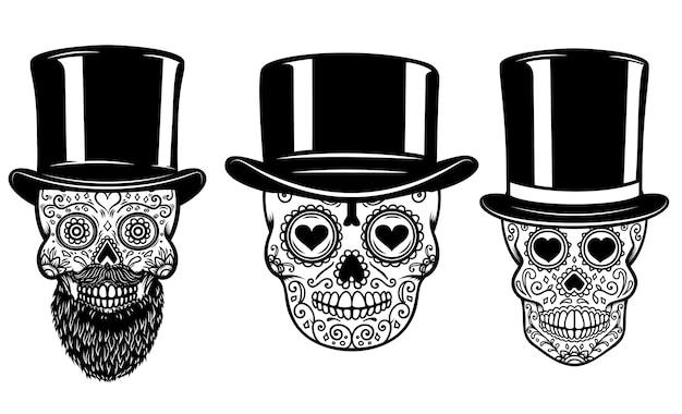 Набор мексиканского сахарного черепа в винтажной шляпе и солнцезащитных очках. Premium векторы
