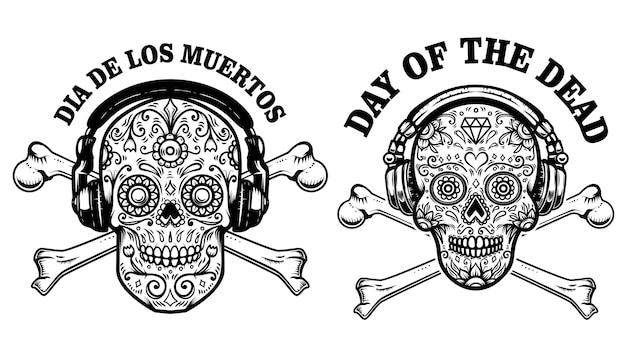 ヘッドフォンとクロスボーンとメキシコの砂糖の頭蓋骨のセット。 Premiumベクター