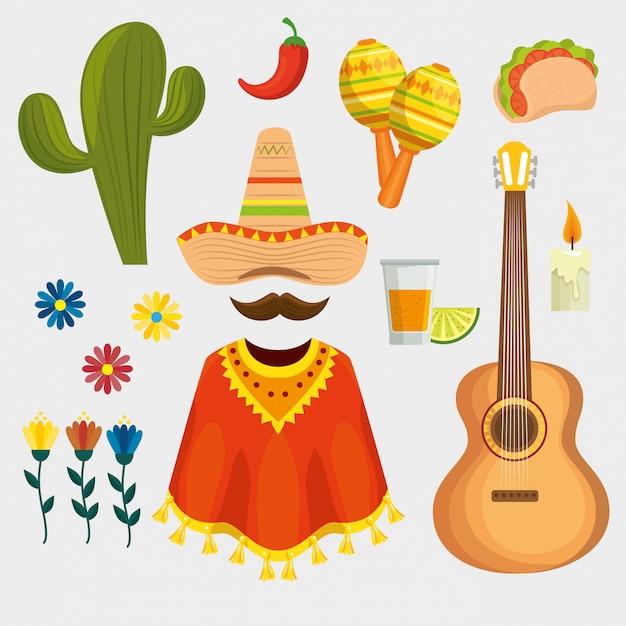 Набор мексиканских традиционных элементов Бесплатные векторы
