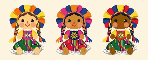 メキシコの伝統的なマリア人形のセット Premiumベクター