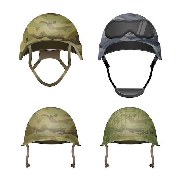 カーキカモカラーのミリタリーカモフラージュヘルメットのセット。クラシック、ゴーグル、戦闘、投影線付き。さまざまな種類の軍用ヘッドギア。保護ヘッドカバーエレメント。ペイントボール。 Premiumベクター
